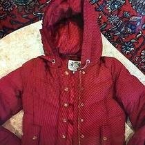 Women's Deep Red Juicy Couture Hooded Zip Up Jacket/ Coat Size S Photo