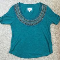 Women's Deletta Anthropologie Embellished Jewelry T Shirt Top Xxs Photo