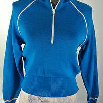 Women's Demetre Aqua Bright Blue Ribbon Sleeve 1/2 Zip Pullover Wool Sweater M A Photo
