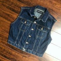Women's Designer Express Jeans Boho Hippy Chic Dark Blue Denim Jean Vest M / L  Photo