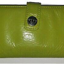 Women's Designer Hobo International Lime Grann Patent Leather Bifold Wallet Photo
