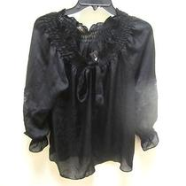 Women's Designer Top the Limited Black Long Sleeve Ruffled Lace Shirt Nwt Large Photo