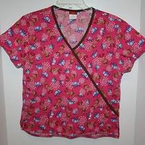 Women's Dickies  Pink & Brown Reindeer and Presents Scrub Top Size Small Photo