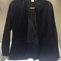 Women's Dkny City Shirt Size 8 Sheer Black Long Sleeve Cabling Cable Photo