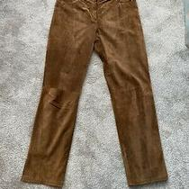 Womens Dkny Suede/leather Trousers Brown Size 16 Straight Leg Photo
