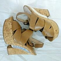 Women's Dolce Vita Brown Gold Platform High Heels Size 10m Cork Peep Toe Shoe 6