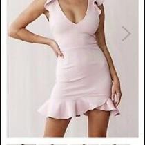 Women's Dress Blush Size L Curve Hugging Stretch Fabric Corset Tie Up Back 45 Photo