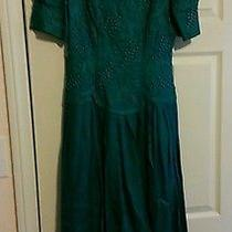 Women's Dress Marie St. Claire Size 8 Green Formal Ramie Short Sleeve Photo