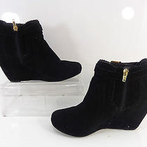 Women's Dv by Dolce Vita Parker Suede Wedge Ankle Bootie Black Size 8 M Photo