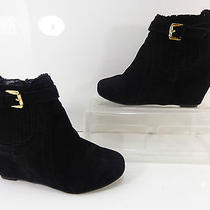 Women's Dv by Dolce Vita Parker Suede Wedge Ankle Bootie Black Size 6/6.5m Photo