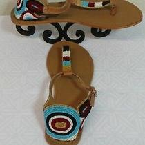 Women's Ecote Sandals Size 7 Beaded Thong Flat T Strap Urban Outfitters Nwob  Photo