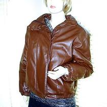 Women's Eddie Bauer Brown Leather Coat Down Filled Insulated Bomber Style Sz Sm Photo