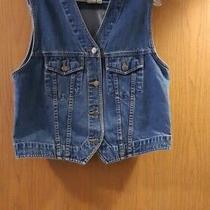 Women's Eddie Bauer Denim Blue Jean Sleeveless Jacket Vest Button Down Size M Photo