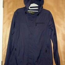 Women's Eddie Bauer Hooded Raincoat Rain Jacket Navy Blue Size M Photo
