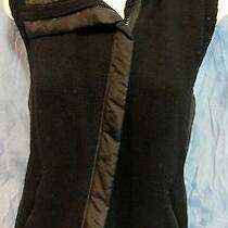 Women's Eileen Fisher Size Small Black Merino Wool Zip Knit Vest Photo