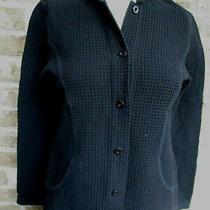 Women's Eileen Fisher Textured Blouse Jacket Top Black/button Down Sz Xs Photo