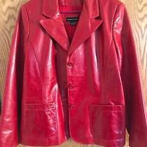 Women's Elements by Vakko Red Raspberry Leather Jacket Size L Photo