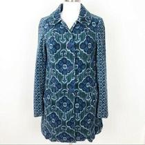 Women's Elevenses/anthropologie Blue Green Pattern Velveteen Swing Coat Sz 4 Photo