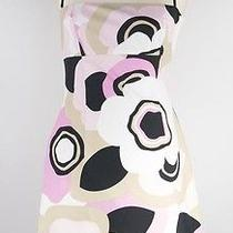 Women's Elie Tahari Cotton Spaghetti Strap Pink/blk Floral Sundress Size 4 Photo