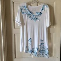 Womens Elie Tahari White With Blue Embroidered Lace Blouse Top Size Medium Photo