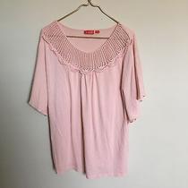 Women's Elle Blush Pink Blouse Crochet Neckline Detailing Size L Photo