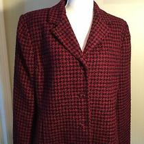 Women's Emma James by Liz Claiborne Size 14 Lined Red & Black Jacket Blazer Photo
