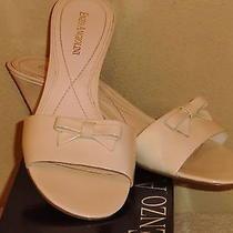 Women's Enzo Angiolini Eapansey White Patent Leather Wedge Sandal 7 1/2m W/box Photo