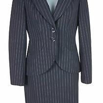 Women's Escada 3pc Navy Wool Pinstripe Blazer Jacket Skirt Pants Suit Size 34/36 Photo