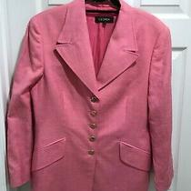 Womens Escada  5-Button Traditional Lined Pink Silk/ Linen Blazer 42 Photo