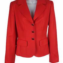 Women's Escada Red Cashmere 3 Button Blazer Jacket Size 34 (4 Us) Photo