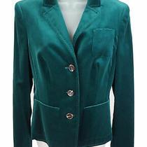 Women's Escada Teal Velvet 3 Button Short Blazer Jacket Size 36 (6 Us) Nwts Photo
