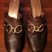 Women's Etienne Aigner Mel Brown Leather Gold Chain Heels Mules Sz 8 Mint  Photo