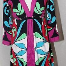 Women's Euc Nicole by Nicole Miller Bright Colors Floral Abstract Dress Sz 4 Photo