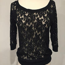 Women's Express 3/4 Sleeve Boat Neck Lace Sweater Black-Sz Xs Photo