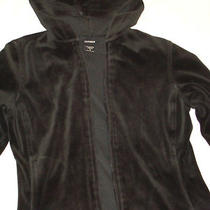 Women's Express Athletic Sporty Velvet Black Hooded Jacket Sz S Photo