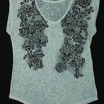 Women's Express Beige Floral Printed See Through Flowy Top Blouse Size Large Photo