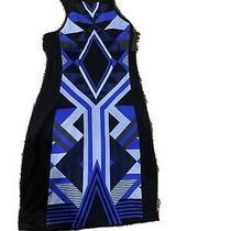 Women's Express Black Blue Sleeveless Body-Con Aztec Design Dress Small New Photo