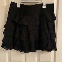Women's Express Black Ruffle Lace Skirt-Size Large Photo