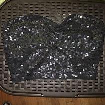 Women's Express Black Sequin Bandeau Size S Photo
