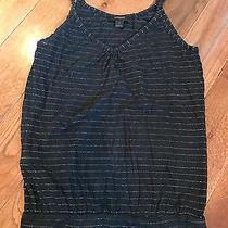 Women's Express Black Spaghetti Strap Tank Silver Metallic Stripe Detail Size S Photo