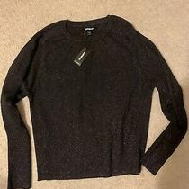Women's Express Black With Red Sparkle Sweater  Top Size M Nwt Photo