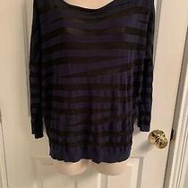 Womens Express Blue/black 3/4 Sleeve Top-Size Large Photo