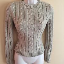 Women's Express Brown Crewneck Cableknit Sweater Sz S - Cute Photo