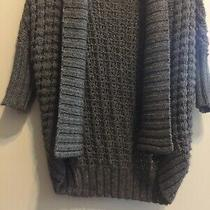 Women's Express Cable Knit Shrug Collar Open Front Sweater Gray Size Xs Photo