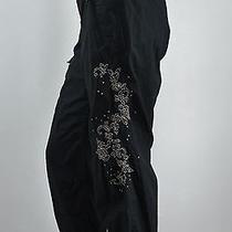 Women's Express Cropped Black Cotton Embellished Capri Pant W/ Ties at Hem Sz 6 Photo