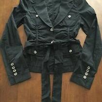 Women's Express Design Studio Belted Button-Down Top Size 2 Black Photo