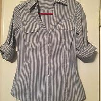 Women's Express Design Studio Blue White Striped Military Button Down Shirt S Photo