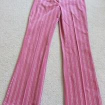 Women's Express Design Studio Size 4 Editor Pants Tango Pink Grey White Stripe Photo