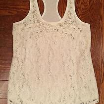 Women's Express Embellished Solid Ivory Racerback Tank Size S Photo