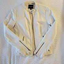 Women's Express Faux Leather White Jacket  Size M Photo
